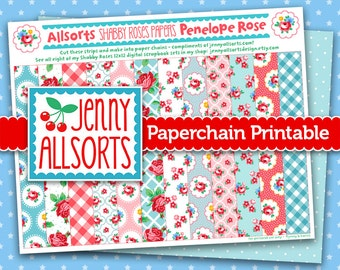 Penelope Rose Shabby Roses Printable Paper Chain, Party Supplies, Decoration