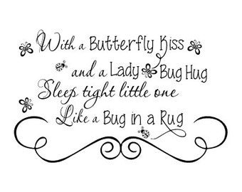 Wall Decal Butterfly Kisses And Ladybug Hugs Sleep Tight