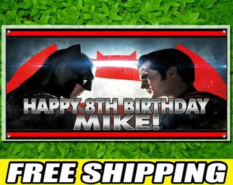 Batman VS Superman Printed Banner Personalized Custom Name Vinyl Banner Happy Birthday Banner