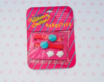 Vintage Plastic Barrettes/ 80s Barrettes/ Cat Barrettes/ Button Barrettes/ Hair Pin/ Hair Clip/ Bobby Pin/ Vintage Jewelry/ Costume Jewelry