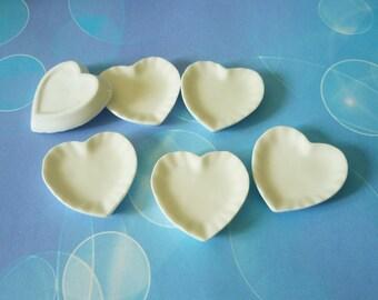 Heart plate Mini plate set 6 pcs. tiny plates/ ceramic plate /Miniature kitchen/ Dollhouse miniatures