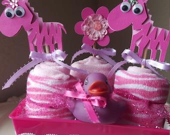 Baby girl Zebra washcloth cupcake