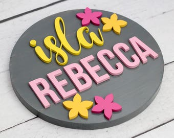 Flower Nursery Name Sign, Round Wood Sign, Baby Girl Flower Nursery Wall Art, Baby Shower Gift, Girl Bedroom Decor, Flower Nursery Decor