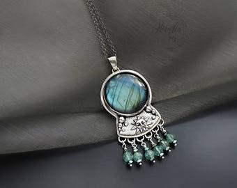 SALE! Liquid ribbons of time - a silver pendant with labradorite,  pmc jewelry, fine jewelry, for her