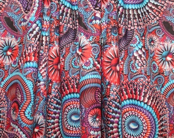 SPECIAL--Blue and Red Collage Print Pure Cotton Lawn Fabric--One Yard