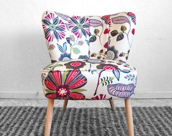 vintage coctail armchair flowers - full restored
