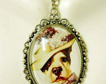 Life magazine lady pit bull pendant and chain - DAP09-641