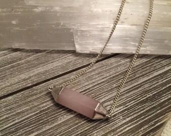 Rose Quartz Pendant Necklace on Silver Chain, choose your length chain
