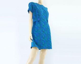 60s Shift Dress 60s Mod Dress Mod Mini Dress Sheath Dress Brocade Dress Blue Green Short Sleeve Dress  60s Day Dress L / XL