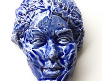Wall hanging face sculpure ceramic art mask blue glazed porcelain slip textured stoneware portrait head