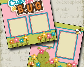 CUTE as a BUG Girl - 2 Premade Scrapbook Pages - EZ Layout 2488