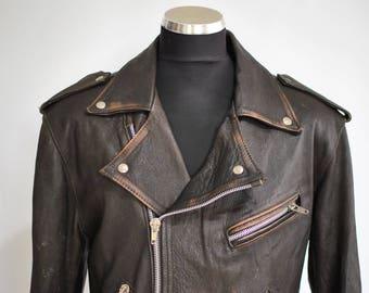 Vintage MEN'S LEATHER JACKET , men's biker leather jacket ...........(049)