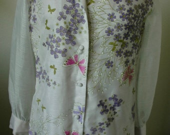 "Designer Alfred Shaheen Vintage Long Dress - ""Pretty Posies and Dancing Butterflies"" - SALE"