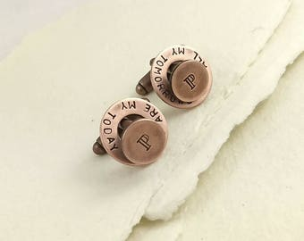 Copper anniversary, Copper gift, Copper, 7th anniversary gift, Copper gift for him, Copper cufflinks, Personalized cuff links, cufflinks