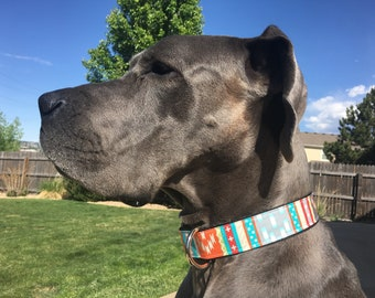 XL 1.5inch Dog Collar Extra Large Adjustable - tribal multicolored- Big Dog collars extra wide