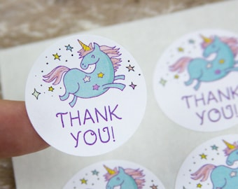 Unicorn Thank You Stickers - Unicorn Thank You Labels  - 1.25 Inch - 48 pieces