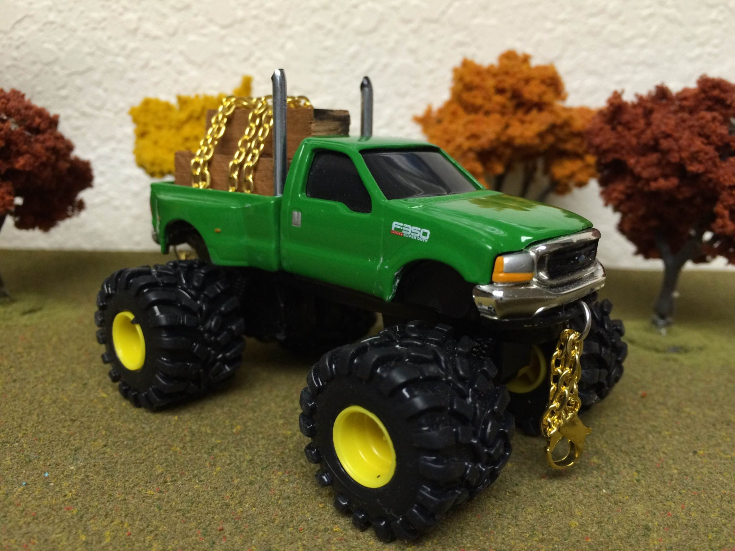 1 64 Ertl Lifted Large Pulling Tires Ford F350 Lariat Super