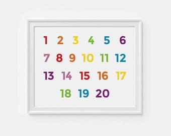 1-20 Number wall art - printable nursery art -  educational poster - 8x10 digital download