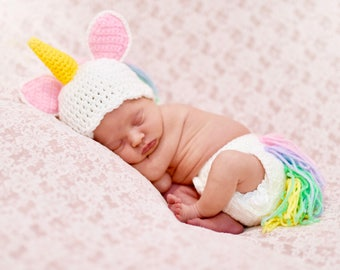 Unicorn Infant Newborn Baby Outfit Beanie Hat Diaper Cover Crochet Photography Photo Prop