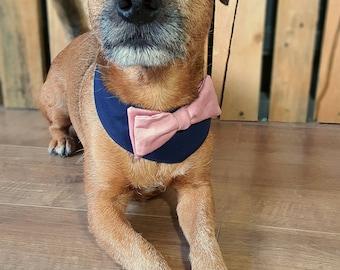 Dog wedding bandana. Dog costume. Dog bow tie. Dog Outfit. Dog  bandana. Dog collar. Dog Wedding Attire. Dog tuxedo. Pink & Navy Dog Collar