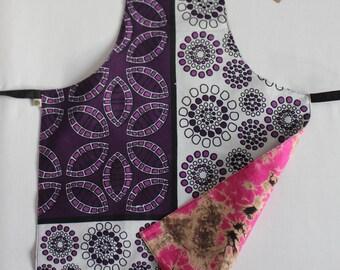 Kids Apron, East-meets-West Apron, Purple Bubbles and Pink Tie Dye, Reversible Apron, Child Medium