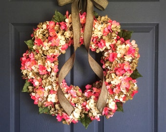 Wreaths | Blended Hydrangea Wreath | Front Door Wreaths | Wreath | Summer Wreath | Door Wreath | Bridal Shower Gift