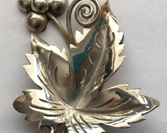 Sale Vintage 925 Silver Grapes and Leaf Brooch Mexico