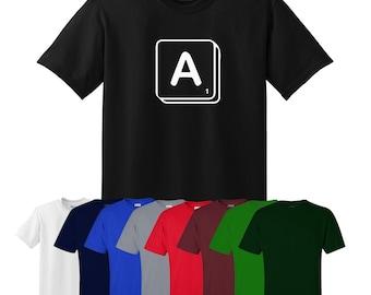 Scrabble Choose Your Own Letter Custom T-shirt Fun Mens Womens UK Ships Worldwide S-XXL