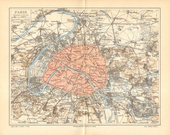 1896 Original Antique Map of Paris and its Surroundings in the 19th Century