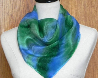 Square silk scarf hand dyed in shades of blue & green, ready to ship, crepe silk scarf