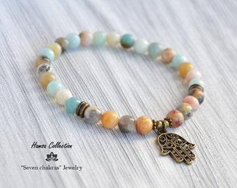 Amazonite 6mm Bead bracelet,women Gift for her,Beaded Hamsa bracelet,Yoga Jewelry,Yoga bracelet,Tibetan Bracelet,Zen bracelet,Wrist mala