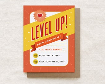 Funny Anniversary Card, Nerdy Boyfriend Gift, Anniversary Card for husband, Card for Wife, Boyfriend Card, Nerdy Love Card - Level Up