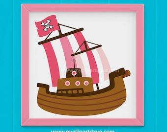 Clipart - Pink Pirate Ship / Boat / Sailing - (Single Clipart Image) Digital Clip Art (Instant Download)