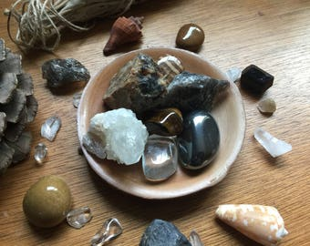 Moon Doobie Earthy Brown Crystal Set in a Small Wooden Saucer with an Asian Flare
