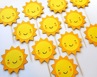 Sunshine Yellow Cupcake Toppers 1st Birthday Baby Shower Garden Party