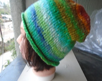 Hand-knitted Beanie - adult one size fits most japanese yarn wool&cotton blend - bright colors