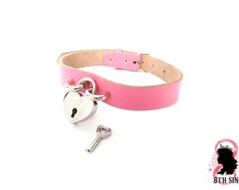 Pink Heart Padlock Choker with Key, Pink Heart Lock Choker, Pink Lock and Key Choker, Pink Heart Padlock Collar, Pink Padlock and Key Collar