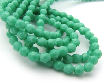 Green Turquoise 4mm Facet Round Czech Glass Fire Polished Beads 50pc #2826
