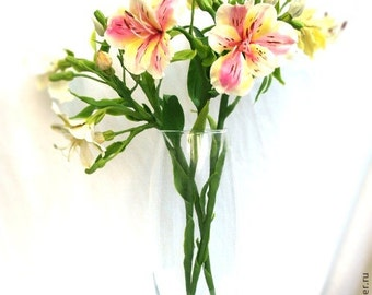 alstroemeria centerpiece, room flower decore, cold porcelain, wedding alstroemeria, housewarming gift, center piece, gift memory, birthday