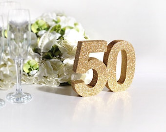 Gold 50th birthday party decoration 50th anniversary decoration Gold glitter party table number Birthday party decoration Keepsake