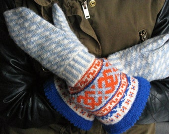 Hand knitted wool long mittens with large cuff, Wool mittens,  wool gloves, Winter mittens, Patterned mittens mittens with ornament Latvian