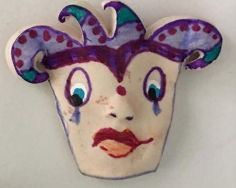 clay face jester clownOOAK Handmade    jewelry craft supplies  cabochon  polymer