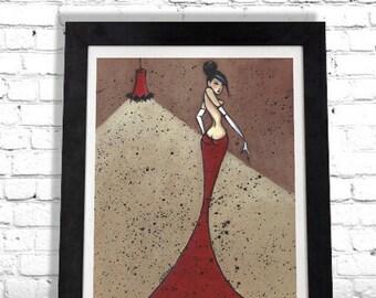 Black Widow Art Print, Nude Woman, Fashion Illustration, Tasteful Nude, Boudoir Wall Art, Bedroom Decor, Giclee Print, Gift for Her, Shano