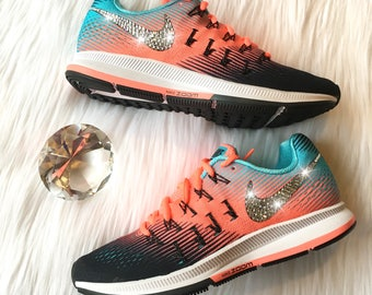 Bling Nike Air Zoom Pegasus 33 Shoes with Swarovski Crystals * Black Pink  Blue * Bedazzled
