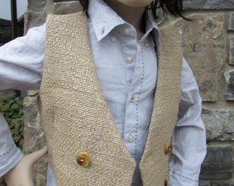 Metallic linen vest with silk Charmeuse lining  and deer embroidery - BV14 - Bespoke Bambino