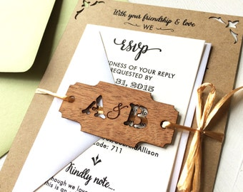 Rustic Laser Cut Woodland Invitation, Wood Engraved Wedding Invitation Monogram Tag