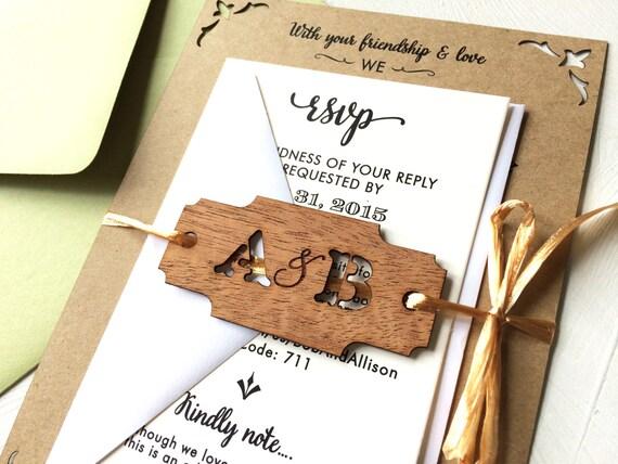 Laser Cut Wood Wedding Invitations: Rustic Laser Cut Woodland Invitation Wood Engraved Wedding