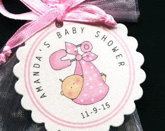 50 Personalized Baby Girl Baby Shower Favor Tags Baby Girl Bundle Pink