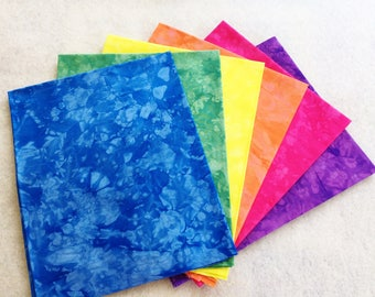 Hand Dyed Cotton Quilt Fabric, JELLY BEANS medley, 6 Fat Quarters in Lively Colors
