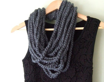 Gray Scarf Necklace / Mid Length / Chain Scarf / Crochet Scarf / Indie Clothes / Rope Scarf
